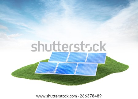 3d rendered illustration of an island with solar panels floating in the air on sky background - stock photo