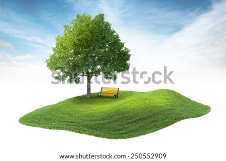 3d rendered illustration of an island with tree and bench floating in the air on sky background - stock photo