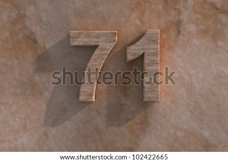 3d rendered illustration of an ornamental 71 in numerals in mottled sandstone on a rough textured wall with shadow