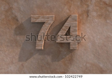 3d rendered illustration of an ornamental 74 in numerals in mottled sandstone on a rough textured wall with shadow