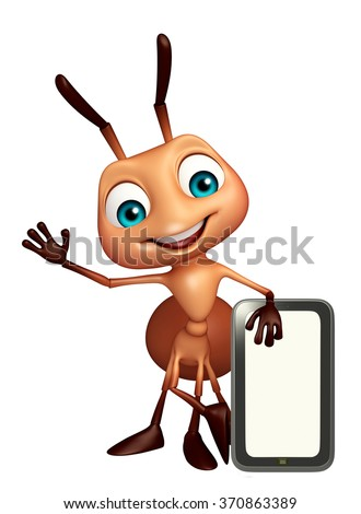 3d rendered illustration of Ant cartoon character with mobile - stock photo