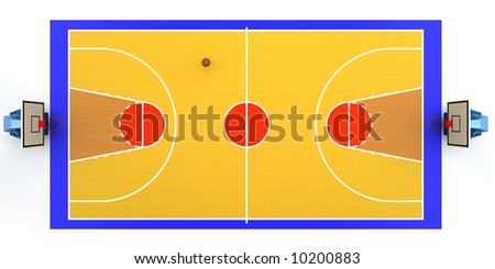 3D rendered illustration of basketball court - stock photo