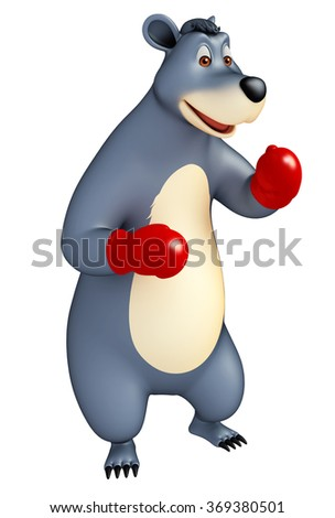 3d rendered illustration of Bear cartoon character with boxing glove - stock photo