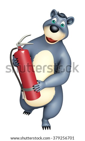 3d rendered illustration of Bear cartoon character with fire extinguisher