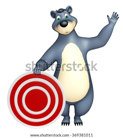 3d rendered illustration of Bear cartoon character with target sign - stock photo