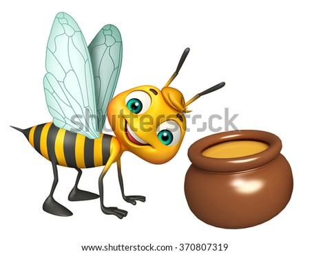 3d Rendered illustration of Bee cartoon character with honey pot