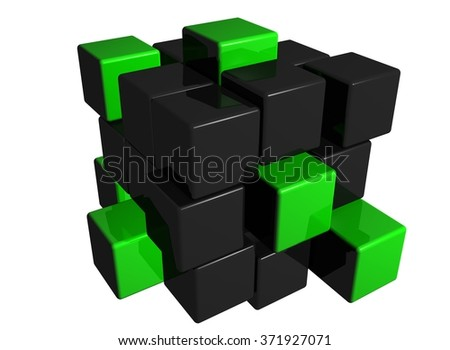 3d rendered illustration of black and green cubes on white