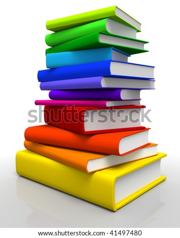3D rendered Illustration of books stack in spectrum colors - stock photo