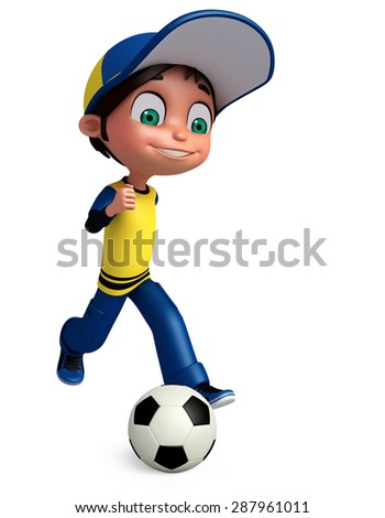 3d rendered illustration of boy with football