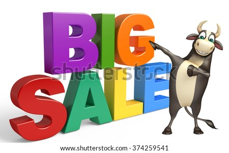 3d rendered illustration of Bull cartoon character with big sale sign