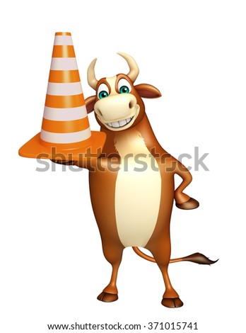 3d rendered illustration of Bull cartoon character with construction cone  - stock photo