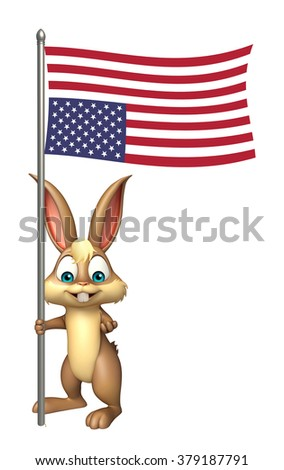 3d rendered illustration of Bunny cartoon character with flag