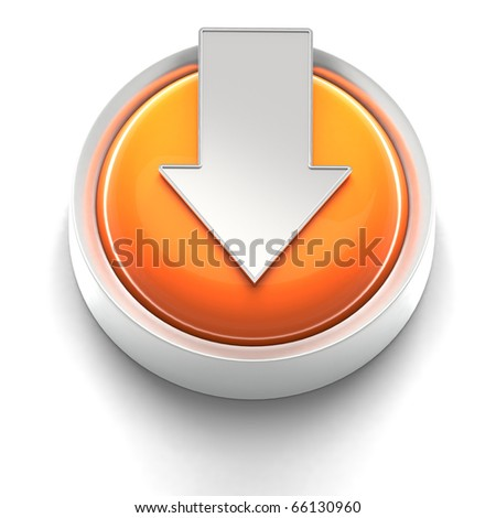 3D rendered illustration of button icon with Download symbol