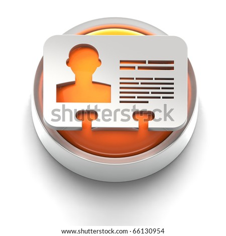 3D rendered illustration of button icon with ID symbol - stock photo
