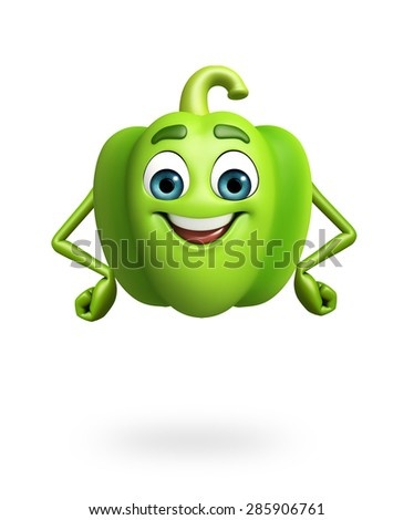 3d rendered illustration of cartoon character of capsicum