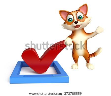 3d rendered illustration of cat cartoon character with right sign  - stock photo
