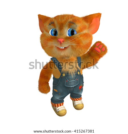 3d rendered illustration of cat funny cartoon character. Cheerful ginger kitten in denim shorts and sneakers - stock photo