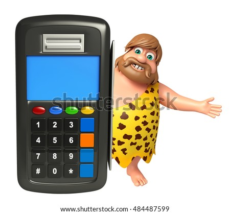 3d rendered illustration of Caveman with Swap machine