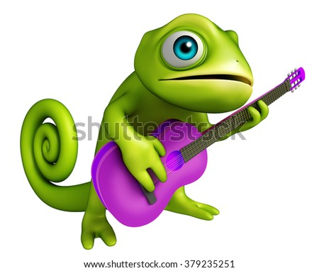 3d rendered illustration of Chameleon cartoon character with guitar