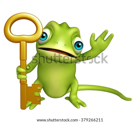 3d rendered illustration of Chameleon cartoon character with key