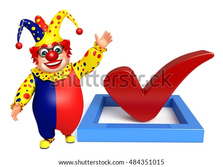 3d rendered illustration of Clown with Right sign