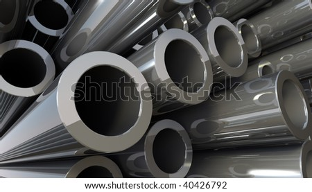 3D rendered illustration of copper metal pipes - stock photo