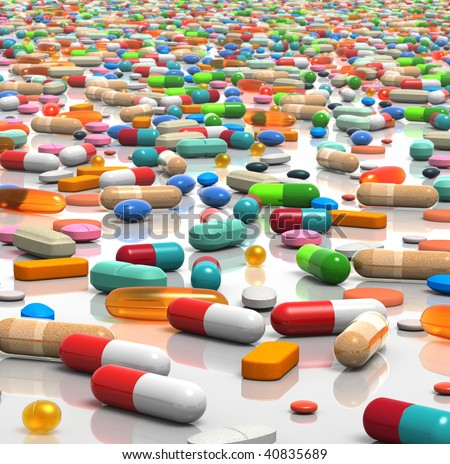 3D rendered illustration of countless pills and capsules scattered over a white, reflective surface