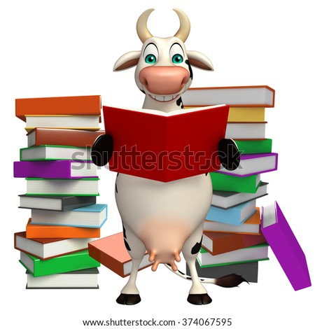 3d rendered illustration of Cow cartoon character with book stack