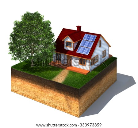 3d rendered illustration of cross section of ground with house with solar panels and tree isolated on white - stock photo
