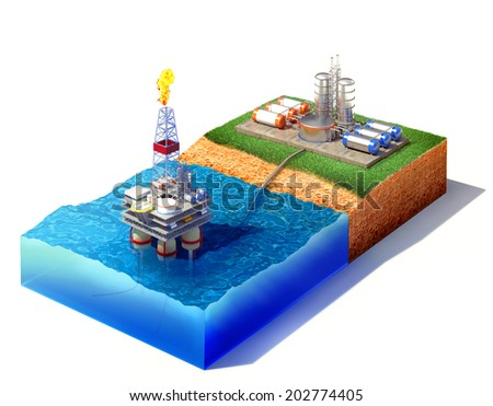 3d rendered illustration of cross section of sea with oil and gas platform in the gulf or the sea, transporting gas or oil on land station. Isolated on white - stock photo