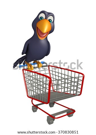 3d rendered illustration of Crow cartoon character with trolly