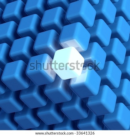 3D rendered illustration of cubic diagramatic structure made up of blue cubes including a unique, leading, glowing cube