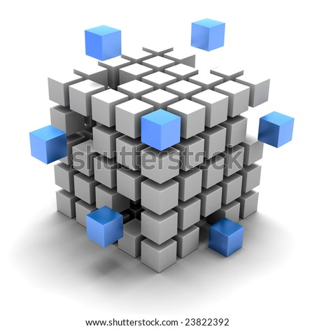 3D rendered illustration of cubic diagramatic structure made up of white and blue cubes coming together