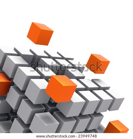 3D rendered illustration of cubic diagrammatic structure made up of white and blue cubes coming together - stock photo