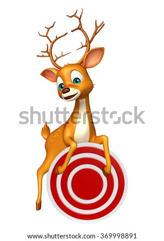 3d rendered illustration of Deer cartoon character with target sign - stock photo