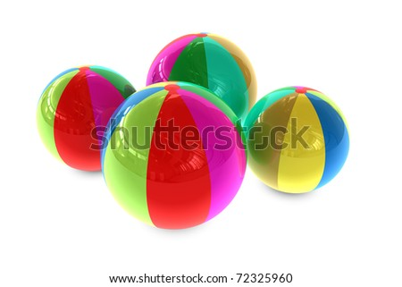 3D rendered illustration of different color beach balls - stock photo