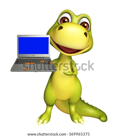 3d rendered illustration of Dinosaur cartoon character with laptop