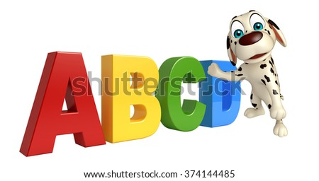 3d rendered illustration of Dog cartoon character  with ABCD sign
