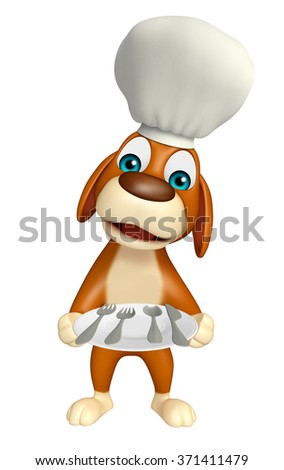 3d rendered illustration of Dog cartoon character with chef hat and dinner plate