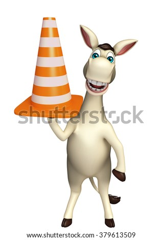 3d rendered illustration of Donkey cartoon character with construction cone  - stock photo