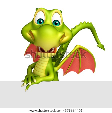 3d rendered illustration of Dragon cartoon character with white board - stock photo