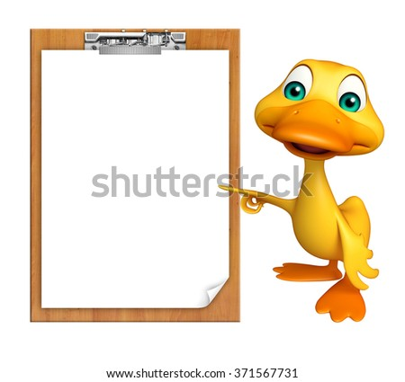 3d rendered illustration of Duck cartoon character with exam pad - stock photo