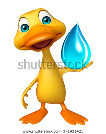 3d rendered illustration of Duck cartoon character with water drop - stock photo