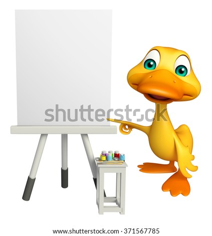 3d rendered illustration of Duck cartoon character with white board