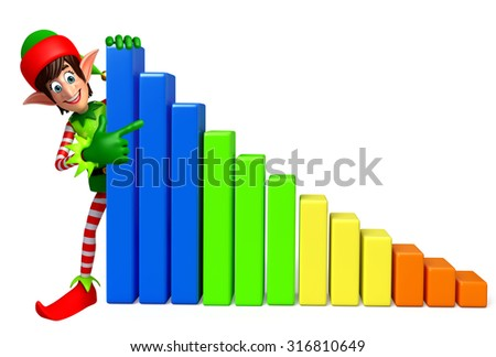 3d rendered illustration of elves with business graph