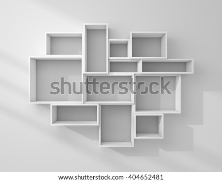 3d rendered illustration of empty modern shelves.