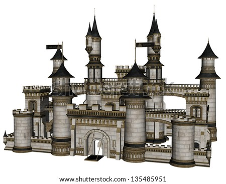 3D rendered illustration of fantasy castle on white background isolated - stock photo