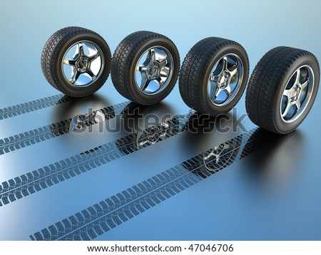 3d rendered illustration of four car wheel making tire track - stock photo