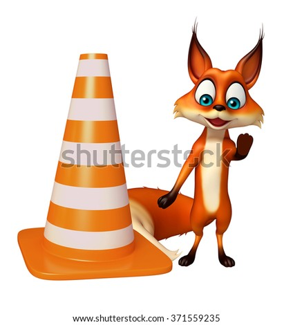 3d rendered illustration of Fox cartoon character with construction cone - stock photo