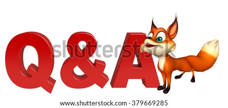 3d rendered illustration of Fox cartoon character with Q&A sign